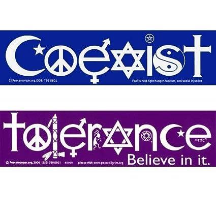 Amazon Coexist And Tolerance Bumper Stickers Automotive