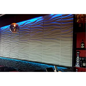 3D wall panels glue up (bamboo pulp) Full size white sample panel. Eco Friendly Modern Plant Fiber 3D Decorative wall panels - Elegant wave design for Contemporary Wall Decor. Model #3D-71