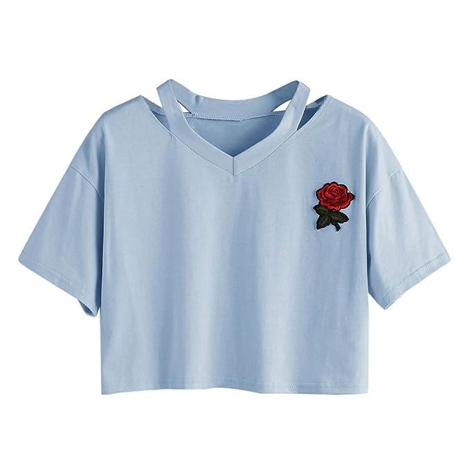 Camiseta de manga corta, diseño de flores sueltas de verano, con ...