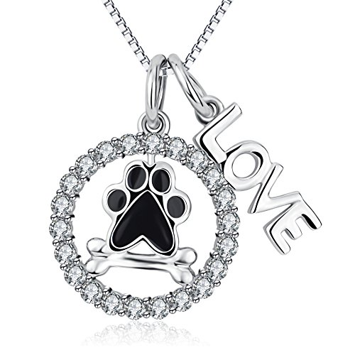 """Sterling Silver Puppy Dog Cat Pet Paw Print and Bone """"Love"""" Necklace 18"""""""