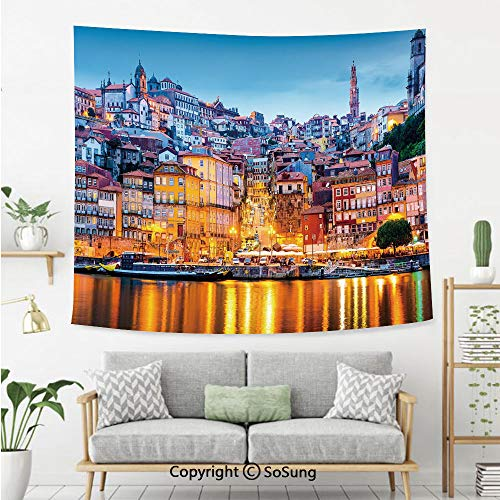 SoSung European Wall Tapestry,Medieval Town Coast Portuguese Porto Old City Historical Twilight Scenery Decorative,Bedroom Living Room Dorm Wall Hanging,60X50 Inches,Ginger Light Blue