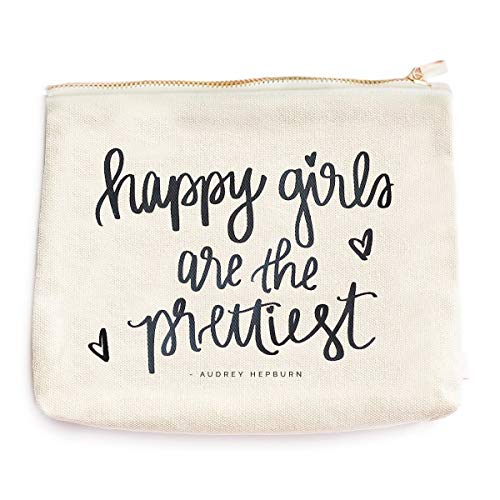 Happy Girls Are The Prettiest Canvas Makeup Bag | Audrey Hepburn Quote Make-Up Organizer Travel Accessories Toiletry Holder Pencil Case Bridesmaid Cosmetic Gift for Her Hand Lettered