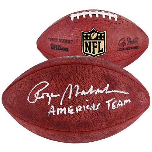 (Roger Staubach Dallas Cowboys FAN Autographed Signed Duke Pro Football With Americas Team Inscription - Certified Signature)