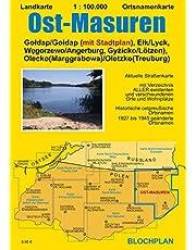 Landkarte Ost-Masuren: Gołdap (Goldap) (mit Stadtplan), Ełk (Lyck), Węgorzewo (Angerburg), Gyżicko (Lötzen), Olecko (Marggrabowa/Oletzko/Treuburg): 7