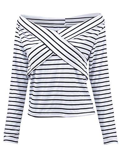 MODETREND Mujer 2017 Nuevo Camisas Manga Larga de Raya Blusa Tops Camiseta de Shoulder Off Raya