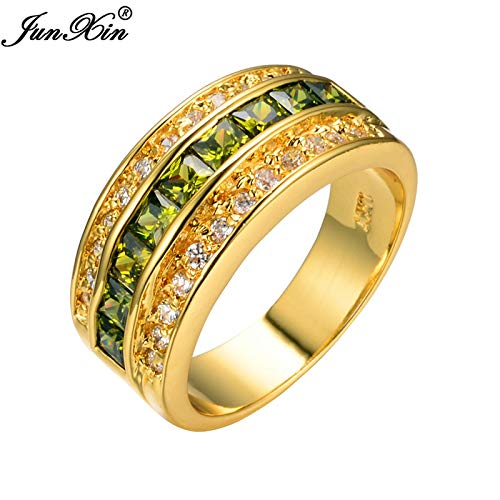 (Olive Green Men Fashion Wedding Jewelry Rings Peridot 10kt Yellow Gold Filled Ring Big)