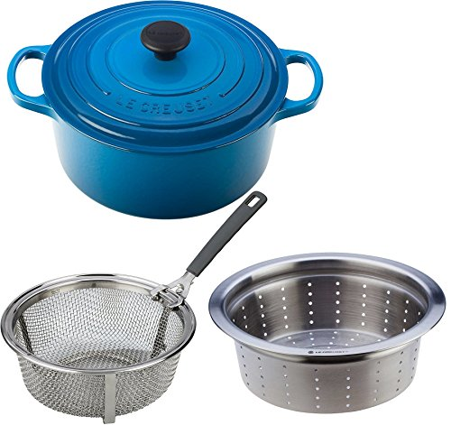 Le Creuset Signature Enameled Cast-Iron 5.5 qt. Round French (Dutch) Oven Bundle with Le Creuset 5.5 qt. Stainless Steel Fry Basket & Steamer Insert, Marseille