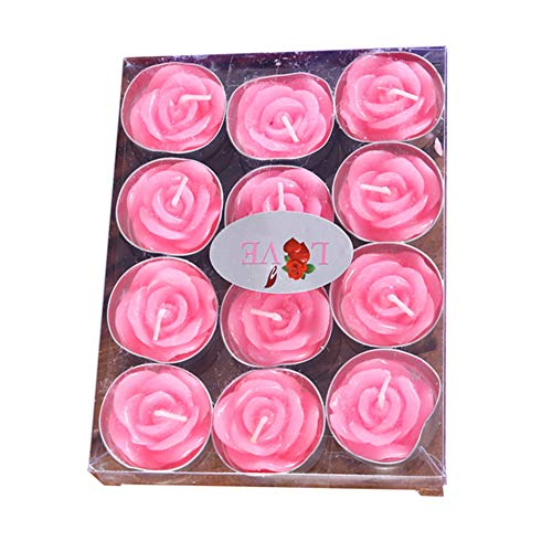 (Creaon 12 Pink Rose Shaped Candle Set Smokeless Tea Light Candles for Valentine's Day Wedding Party Romantic Date Night Home Decoration Gifts)
