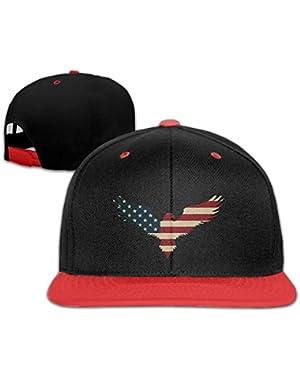 American Flag Bald Eagle Youth Unisex Contrast Color Cap Baseball Caps (4 Colors)
