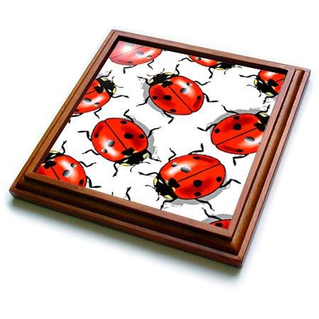 3dRose trv_998_1 Ladybug Trivet with Ceramic Tile, 8 by 8