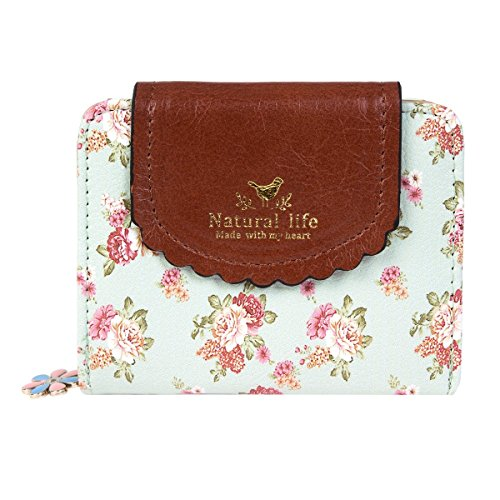 Damara Women PU Zipper Closure Flower Printed Flap Wallet,Light Green
