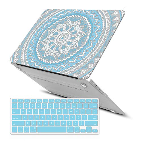 MacBook Air 13 Inch Case (Release 2010-2017 Older Version),iCasso Rubber Coated Soft Touch Hard Case with Keyboard Cover Only Compatible MacBook Air 13 Inch (Model:A1369/A1466), Blue Medallion