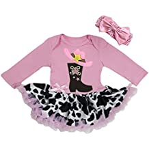 Baby Cow Printed Cowgirl Cowboy Boots Bodysuit Tutu