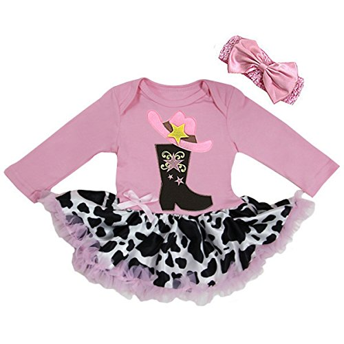 [Baby Cow Printed Cowgirl Cowboy Boots Bodysuit Tutu X-Large Pink] (Cowboy Outfit)