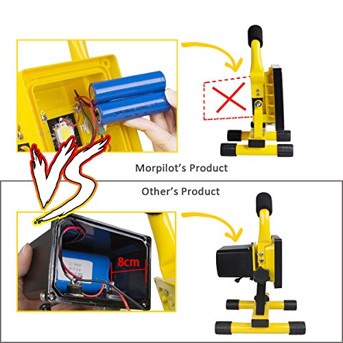 Morpilot LED Work Light, Waterproof Flood Lights Built-in Rechargeable Battery Portable Light for Outdoors Camping Emergency Light Workshop, Construction Site Garage, Garden, Lawn and Yard (4400mA) by Morpilot (Image #5)