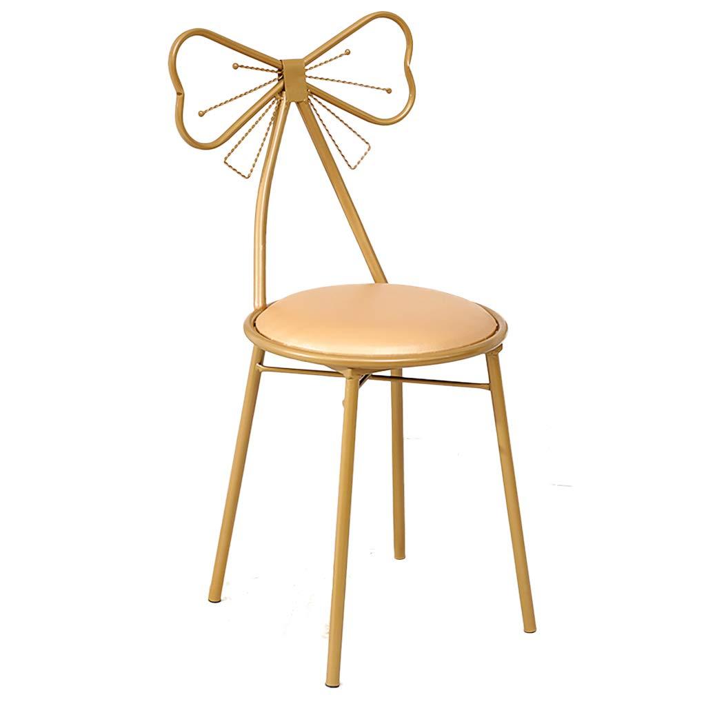 XIAOZHUZHU Klädbordsstol, hem ryggstöd stol flickor sovrum gyllene makeupstol vardagsrum dekorativ stol balkong lounge stol café matstol, rosa Guld