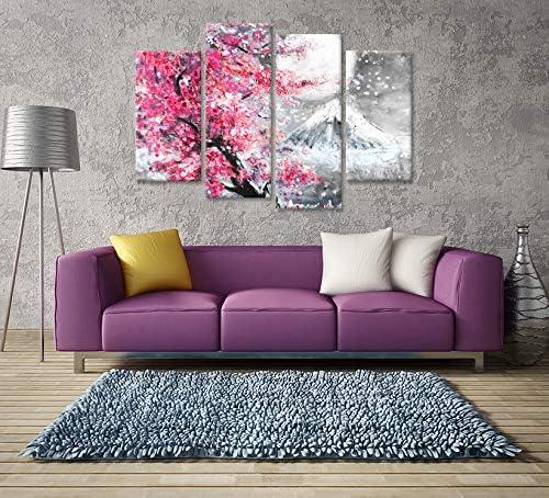 Hello Artwork 4 Pieces Flower Canvas Wall Art Peak Of Mount Fuji