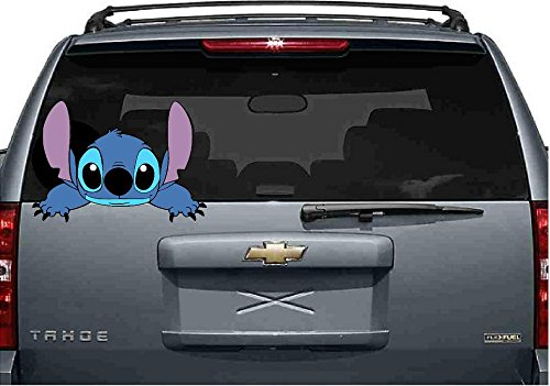 "Stitch, reaching, peeking,Lilo, laptop, car 3D Wall Decal Sticker 7"", 14"", 18"", 24""or 36"""