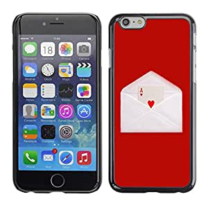 Qstar Arte & diseño plástico duro Fundas Cover Cubre Hard Case Cover para Apple (5.5 inches !!!) iPhone 6 Plus ( Love Ace Heart Card Game Letter Envelope Red)