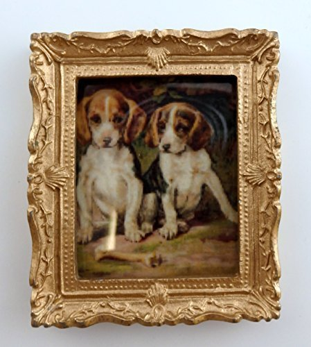 Melody Jane Dolls Houses House Miniature 1:12 Accessory Beagle Puppies Picture Painting Gold Frame
