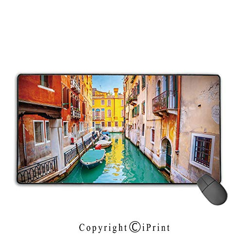 - Mouse pad with Lock,Venice,Vibrant Colorful Venice View Canal Buildings Gondolas Green Water Romantic Landmark Decorative,Multicolor,Ideal for Desk Cover, Computer Keyboard, PC and Laptop,15.8