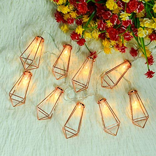 Omika 20 LED Rose Gold Geometric Fairy Lights - USB & Battery Powered, Boho Metal Cage Bedroom String Lights for Wedding Decorations Party Indoor Patio Camping Wall Decor, 10 Ft/3m [並行輸入品] B07R9R6SNR