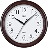 hito Modern Extra Large Silent Non-ticking Wall Clock- Glass Cover (13 inches, Wood Grain)