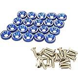 #8: JDMSPEED 20 Pcs Blue CNC Billet Aluminum Fender Washer Engine Bay Dress Up Kit