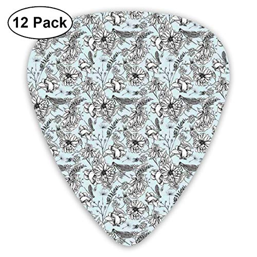 Guitar Picks 12-Pack,Nature Scene Butterfly Dragonfly And Daisies On Pale Background