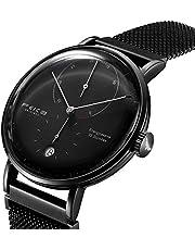 FEICE Herren Analog Uhr Mechanische Automatikwerk mit Gewölbtes Glas Kalender Bauhaus Armbanduhren - FM202