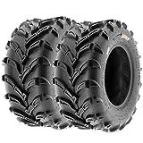 Set of 2 SunF A024 25x10-12 ATV UTV Mud/Trail Tires, 6-PR, Deep Directional Tread