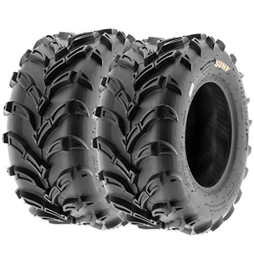 (Set of 2 SunF A024 25x10-12 ATV UTV Mud/Trail Tires, 6-PR, Deep Directional Tread)