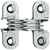 SOSS Mortise Mount Invisible Hinges with 4 Holes, Zinc, Satin Chrome Finish, 1-1/2