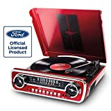 Ion Audio Mustang LP Ford 4-in-1 Classic Car Styled Music Center, Red (Renewed)