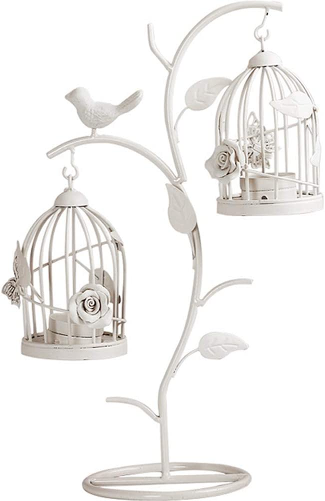 Kelendle 2 Metal Candle Holder Hollow Out Bird Cage Vintage Hanging Candlestick Lantern for Home Romantic Wedding Centerpiece Decoration Home Decor