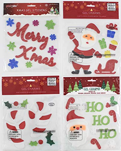 Holiday Christmas Gel Clings: Decorations for Home Office Windows Mirrors and More! (Ho Ho Ho) ()