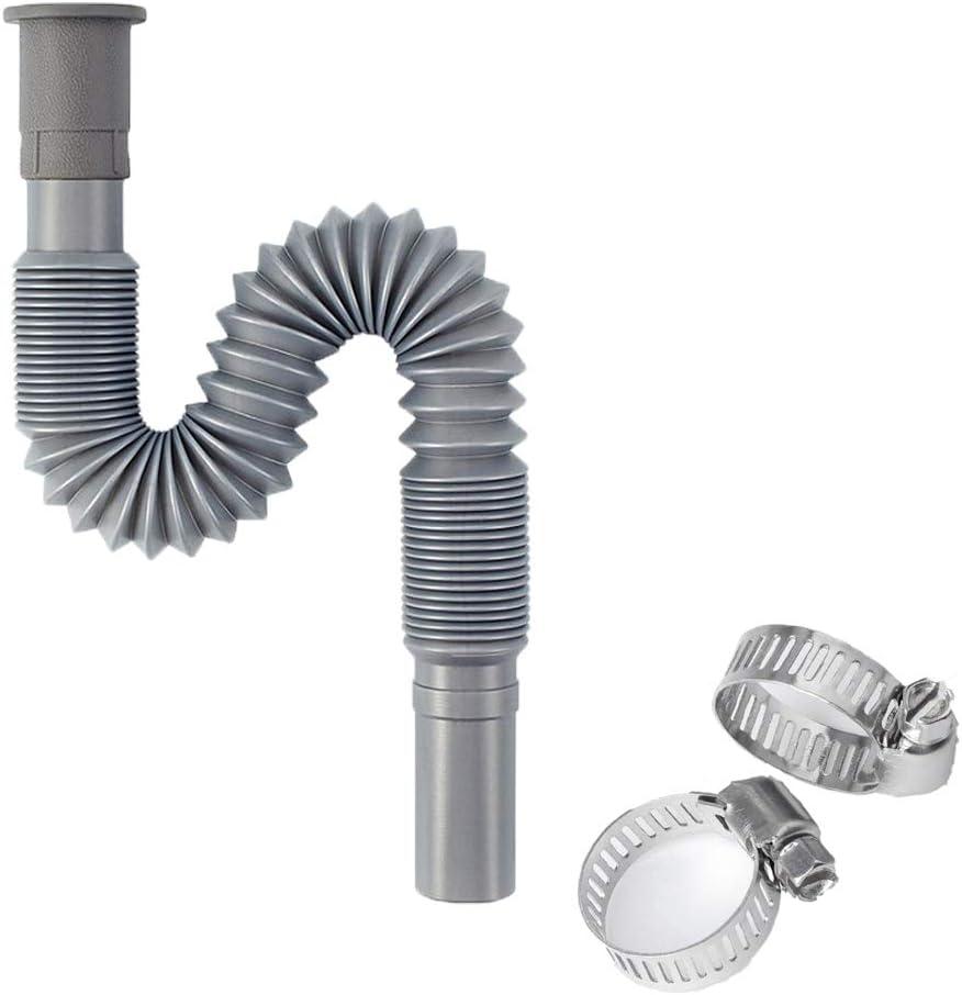 Manguera de drenaje, Tubo de desagüe incluye abrazadera, para Lavadora y lavavajillas 2 abrazaderas de manguera, Adecuado para tuberías de alcantarillado con un diámetro exterior de 2,9-3,2 CM