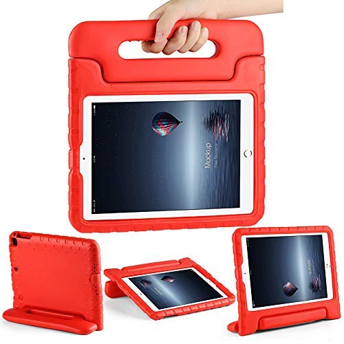 CAM-ULATA Case for iPad 9.7kids 2018/2017 Model for iPad Air 1 Air 2 Cover EVA with Handle for Kids Boys Girls Lightweight Red