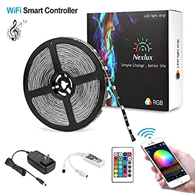 Nexlux Led Light Strip, WiFi Wireless Smart Phone Controlled 32.8ft Strip Light Kit Black PCB 5050 LED Lights,Working with Android and iOS System,IFTTT