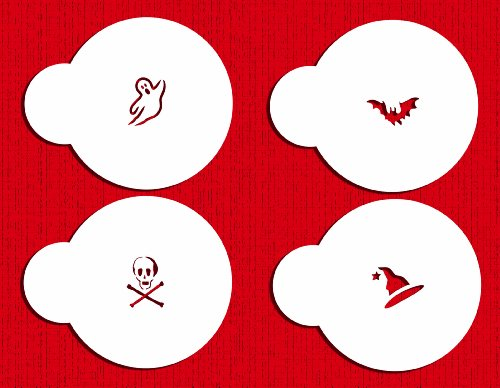 Designer Stencils C242 Mini Halloween Cookie and Cupcake Stencils, Beige/semi-transparent
