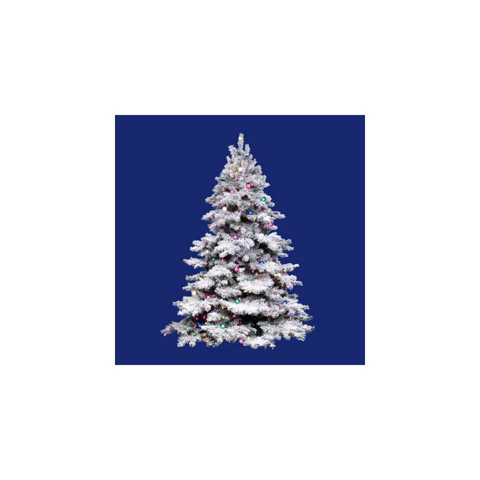 10 Pre Lit Flocked Alaskan Artificial Christmas Tree