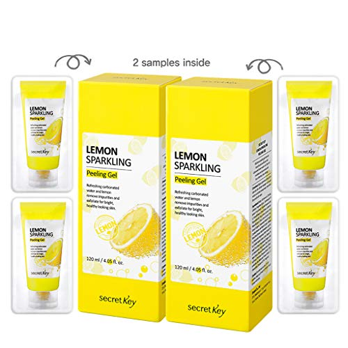 (SECRET KEY Lemon Sparkling Peeling Gel 4.05 fl.0z.(120ml) 2pcs + 4 Mini Peeling Gel - Vitamin C Lemon Water and Sparkling Water Skin Purifying Exfoliater, Removes Dead Cells, Sebum Clear Pore Care)