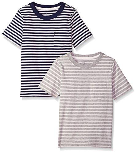 Carter's Boys' Big 2-Pack Tees, Light Grey Black Stripe, 8