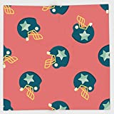 Cotton Microfiber Hand Towel,Football,Helmet Figures with Stars Retro Display Game Safety Headgear,Dark Coral Yellow Petrol Blue,for Kids, Teens, and Adults,One Side Printing