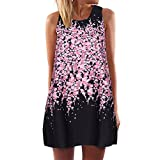 Winsummer Plus Size Womens Summer Sleeveless Tank T-Shirt Dress Casual Vintage Boho Floral Print Swing Short Dress