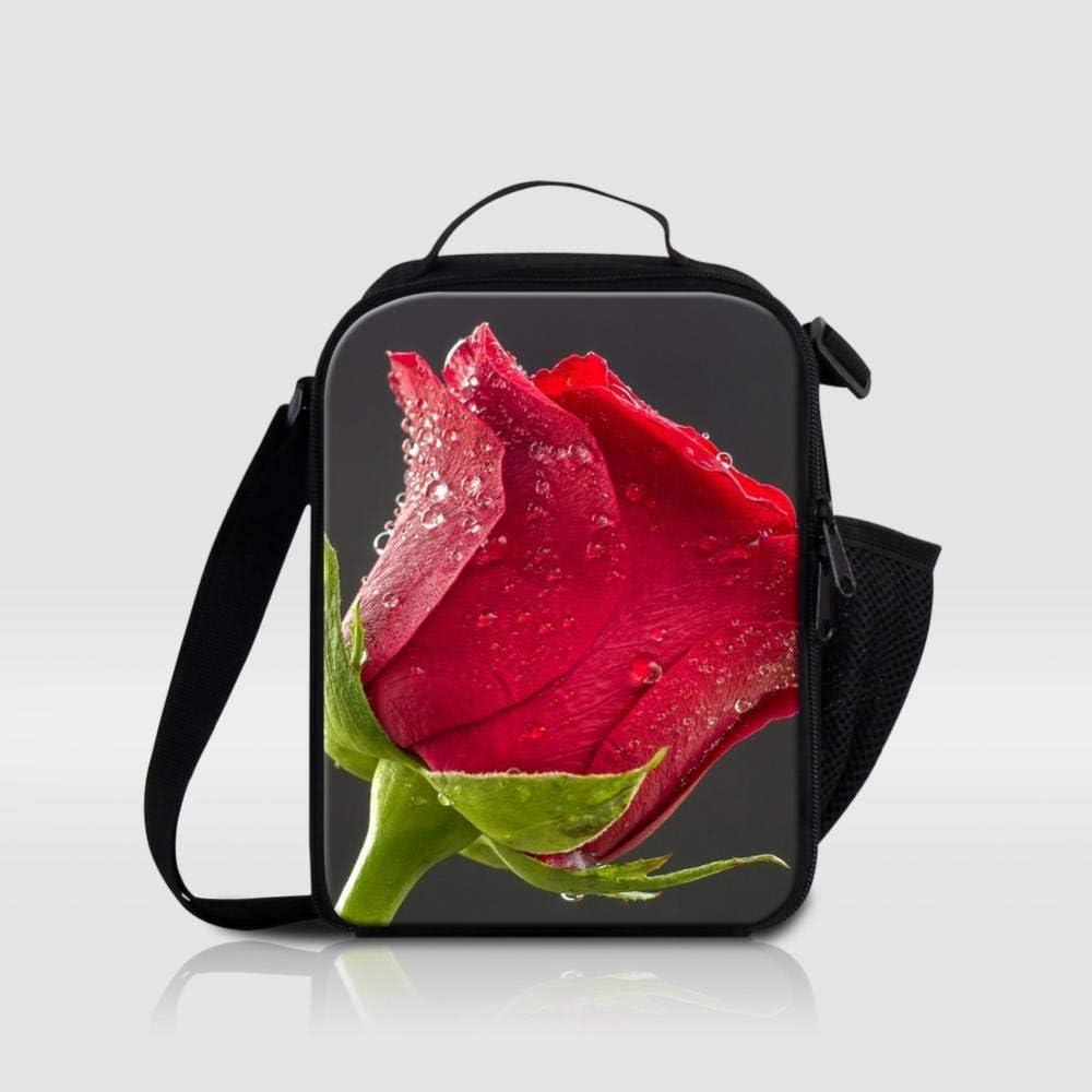 Bolsa de Almuerzo térmica Personalizada con Estampado de Rosas Verdes para niños Bolsas de Almuerzo con Aislamiento para la Escuela Bolsa de refrigerador de Comida de Flores