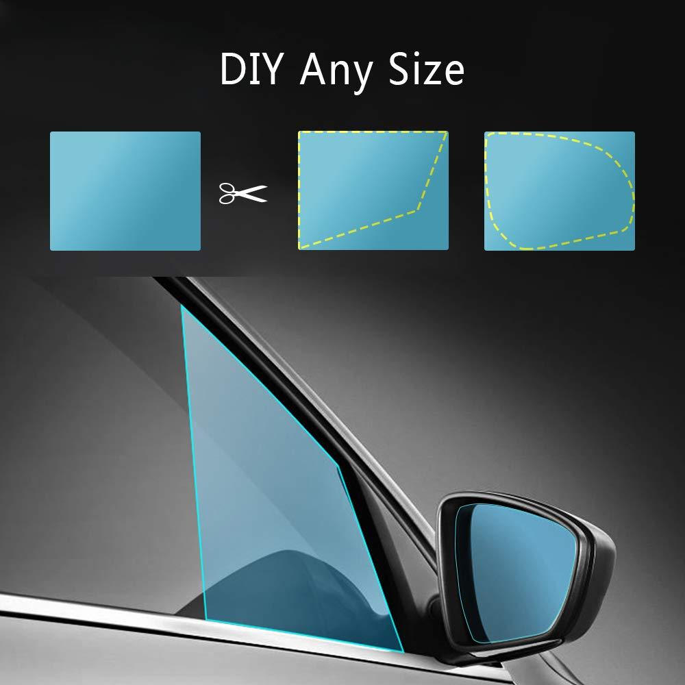 antivaho Impermeable pel/ícula de Cristal Lateral FMS 4 PCS Oval y Rect/ángulo Pel/ícula de Espejo retrovisor Impermeable para Coche Resistente a la Lluvia antiara/ñazos Oval*2+Rect/ángulo*2