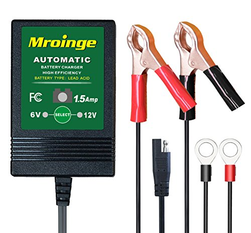 Mroinge Automatic Trickle Battery Charger Maintainer 6&12V 1500mA Automotive Smart For Car Motorcycle Lawn Mower, Sla, Atv, Agm, Gel, Cell, Lead Acid Batteries by Mroinge