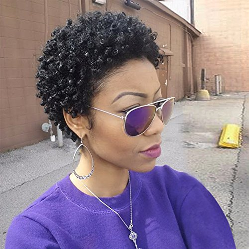 WIGNEE Remy Human Hair Afro Curly Short Style Wigs (Natural Black)