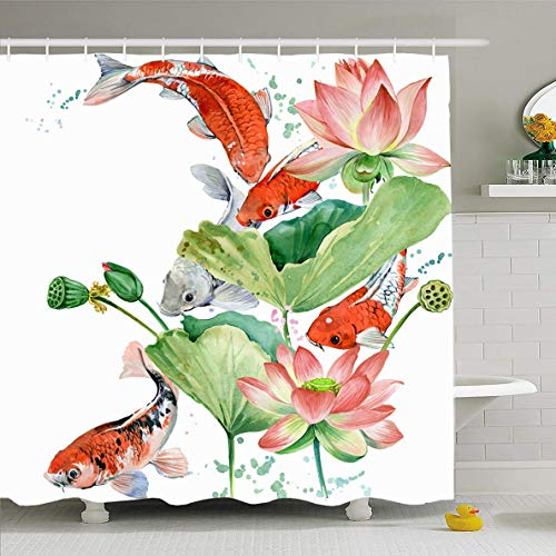 Ahawoso Shower Curtain 60x72 Inches Oriental Fish Watercolor Koi Carp Lotus Flower Wildlife Pink Gold Water Asia Asian Design Waterproof Polyester Fabric Bathroom Curtains Set with Hooks